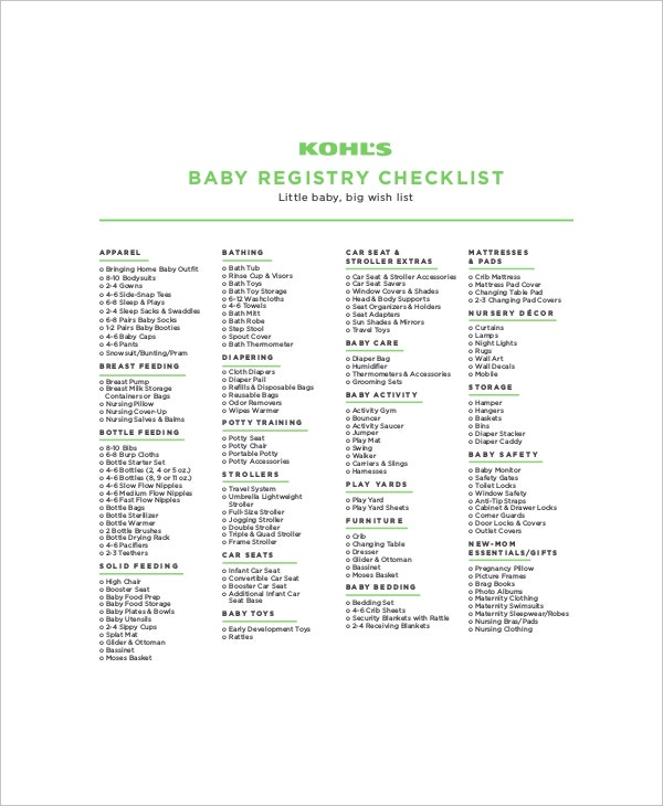 kohls complete little baby registry checklist
