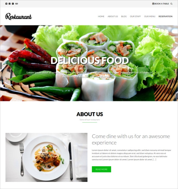Free Delicious Food Website Theme