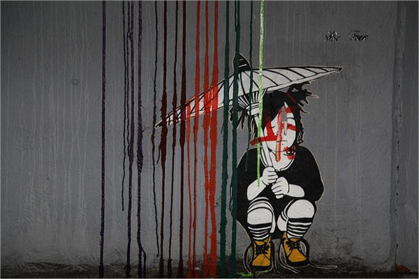 girl with umbrella street art
