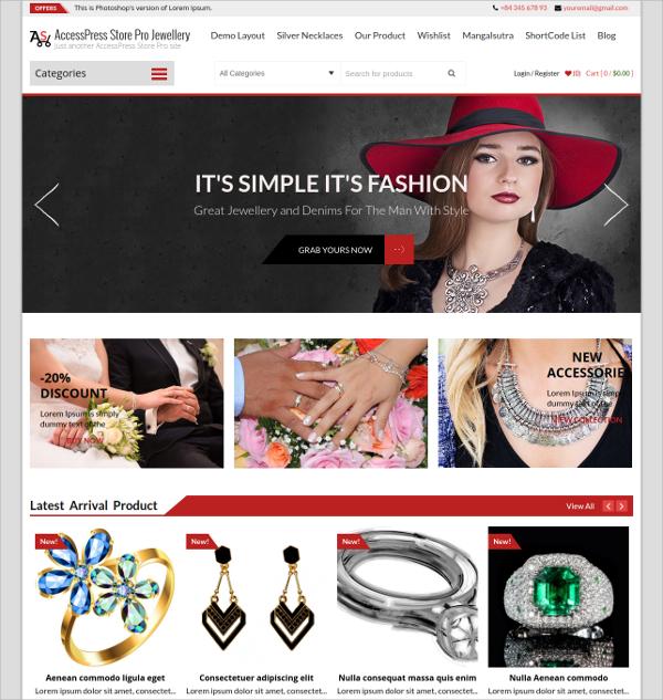 Free eCommerce Jewlery Website Theme