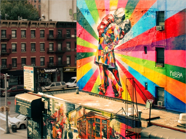 love rainbow street art