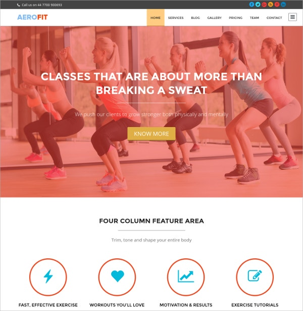 Free Fitness Business Website Theme