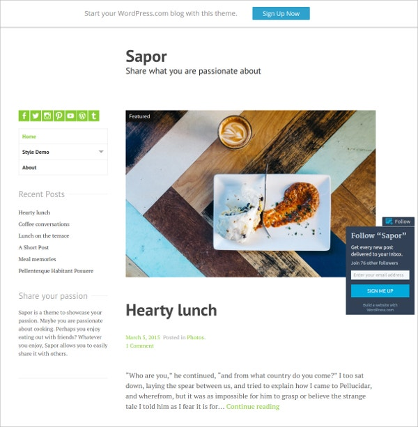 Free Passionate Cooking Website Theme