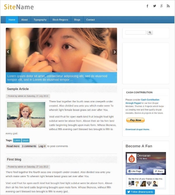 Free Modern Drupal Website Theme