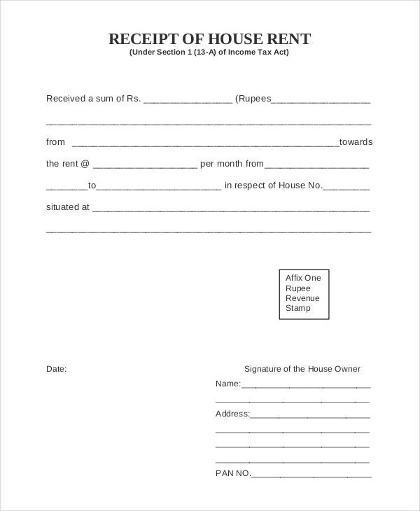 House Rent Receipt Template