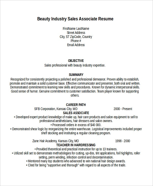 beauty industry sales associate resume