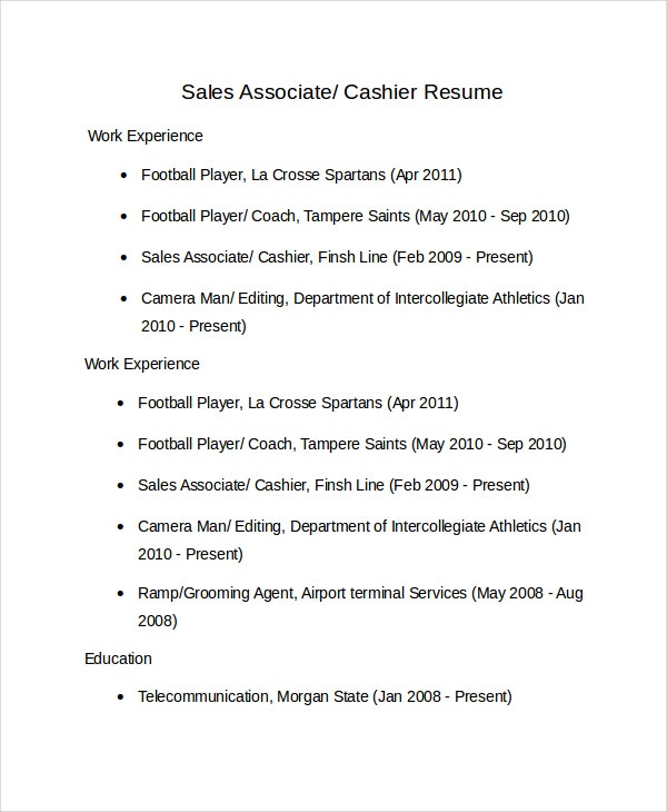 Sales Associate Cashier Resume