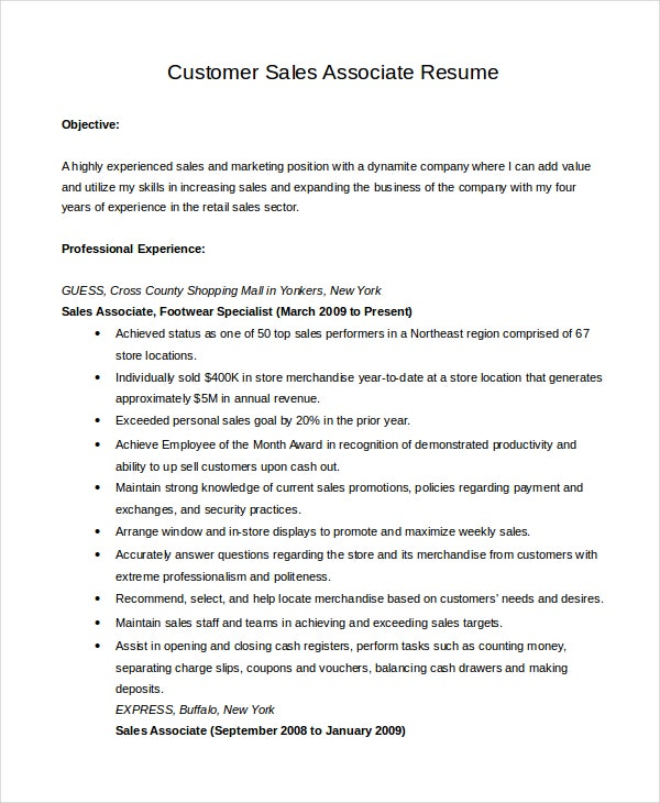 Customer Sales Associate Resume