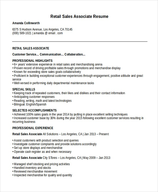 Beautiful Sales Associate Resume Template 8 Free Word Pdf Document .