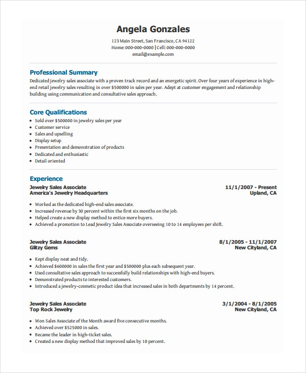 jewelry sales associate resume