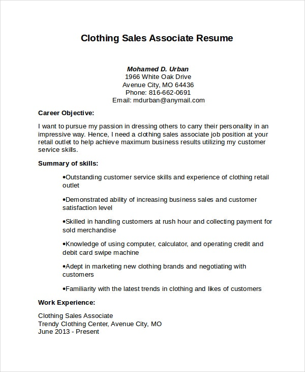 Sales Associate Resume Description  Template