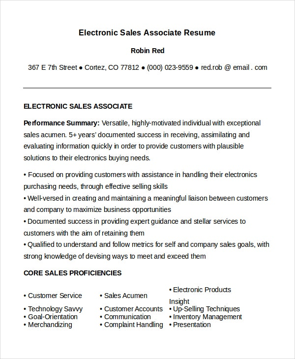 electronic sales associate resumes