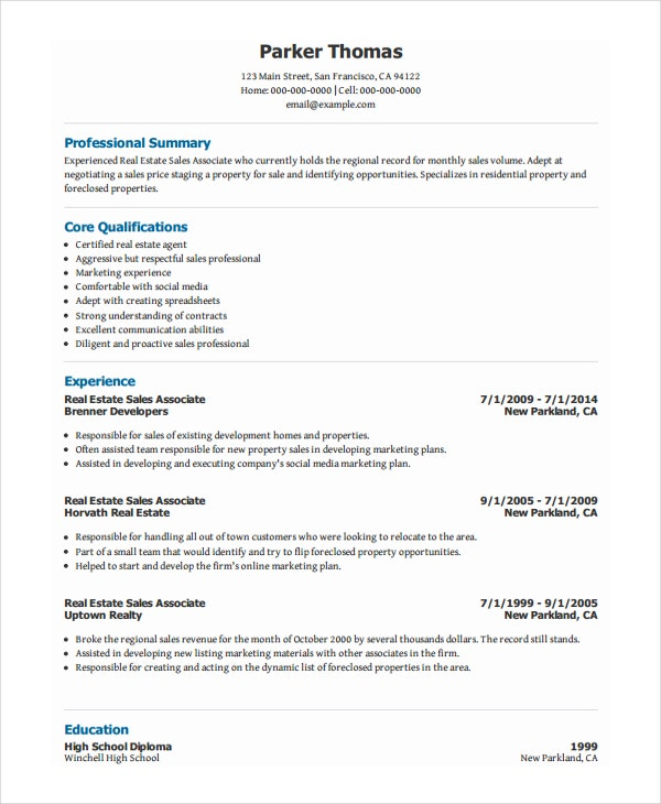 real estate sales associate resume - Sales Professional Resume