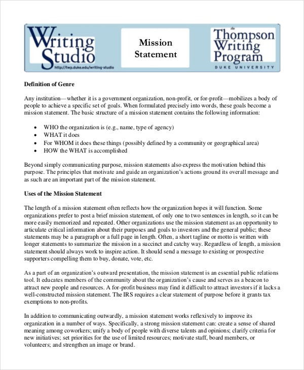 Mission Statement Template 9 Free Word PDF Document Downloads – Business Statement Template