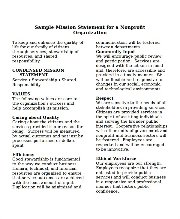 mission statement template for nonprofits