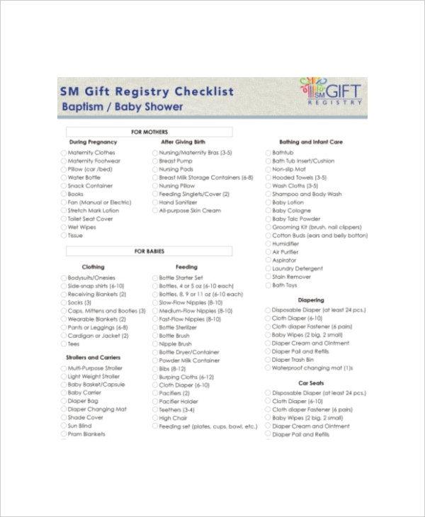 sample baby shower gift registry checklist