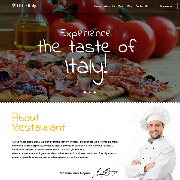 Restaurant Blog WordPress Theme $75