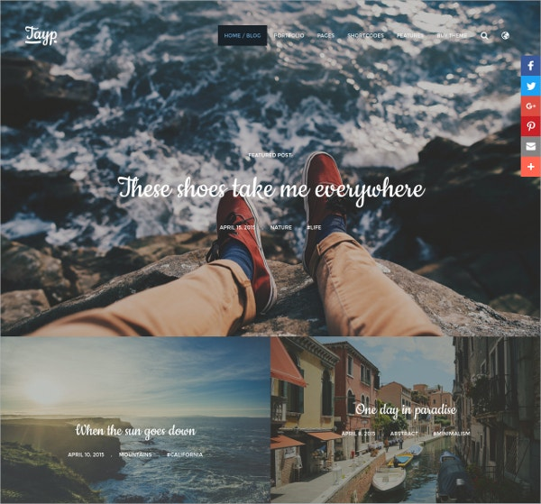 Adventure travel WordPress Blogging Theme $39