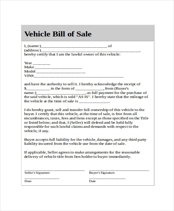 Generic Bill Of Sale For Car