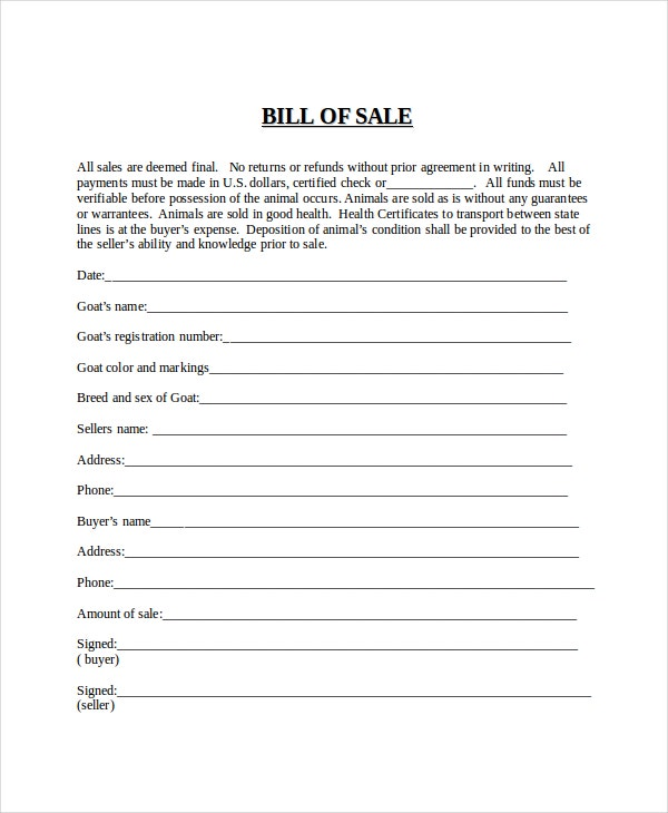 Attractive Generic Bill Of Sale For Animal Inside Bill Of Sale Generic