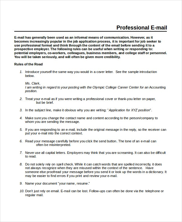 Professional Email Template   Free Word Pdf Document Downloads