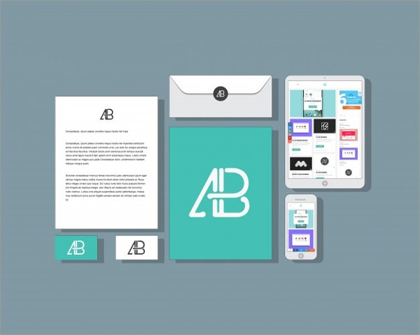 Flat Business Envelope Mockup