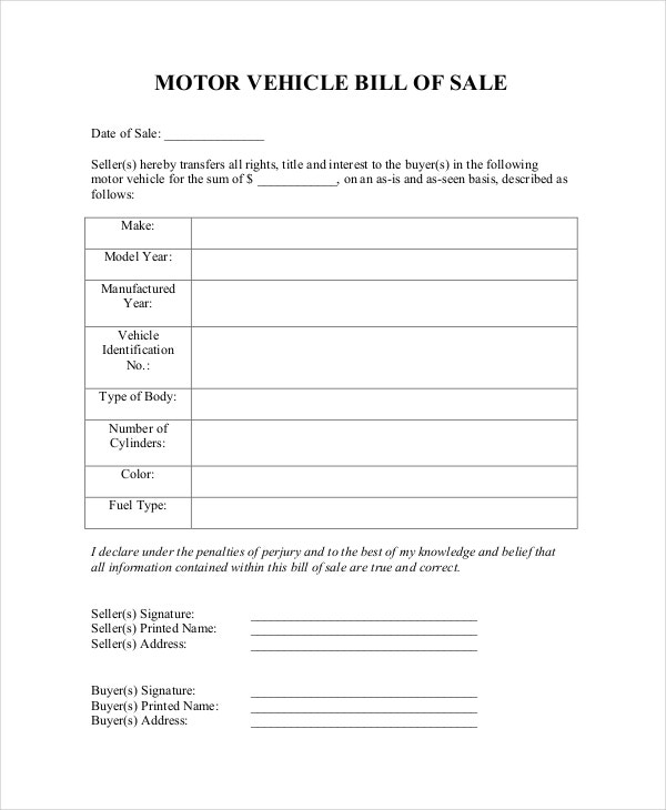 Blank Motor Vehicle Bill of Sale
