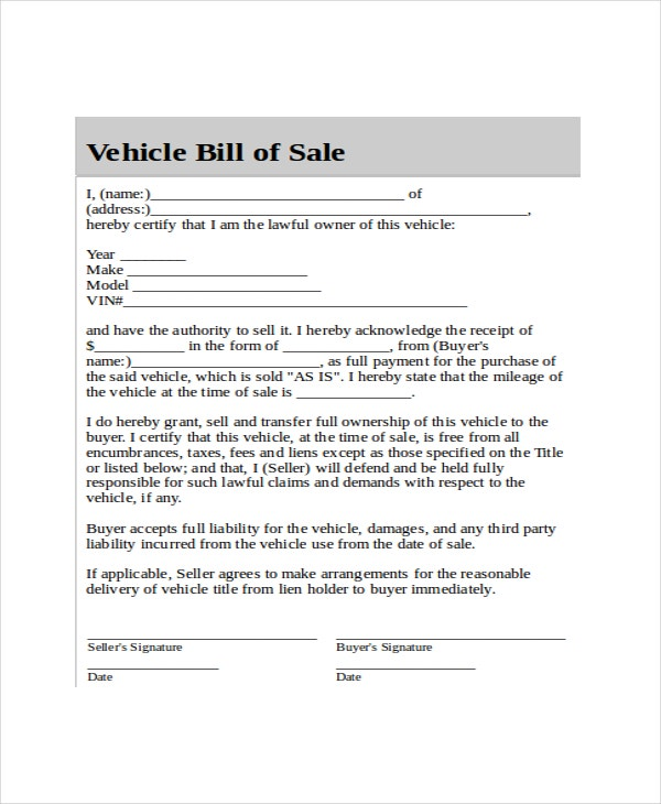 Blank Bill Of Sale Template - 7+ Free Word, Pdf Document Downloads