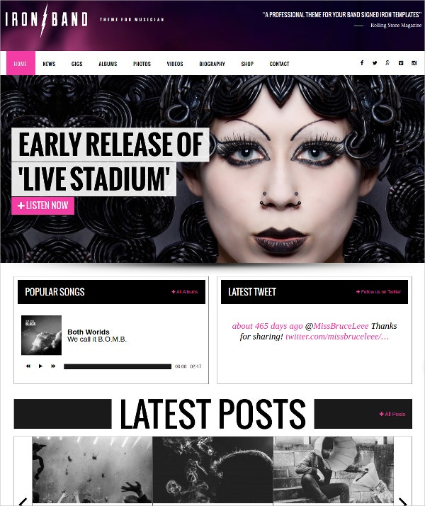 DJ & Night Club WordPress Website Theme $59