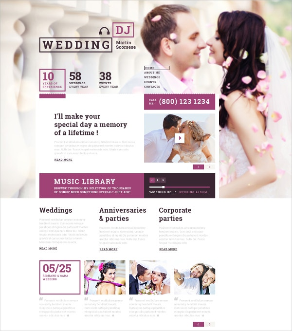 Wedding DJ & Entertainment Website Template $75