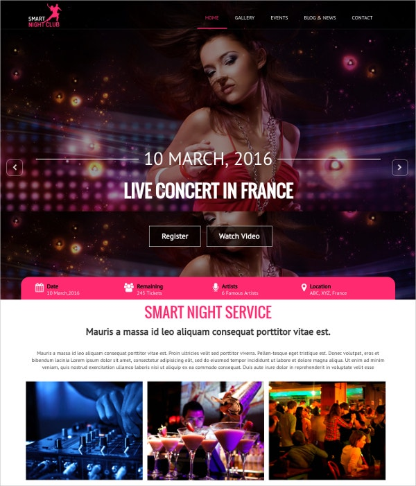 DJ & Nightlife One Page HTML Website Template $15