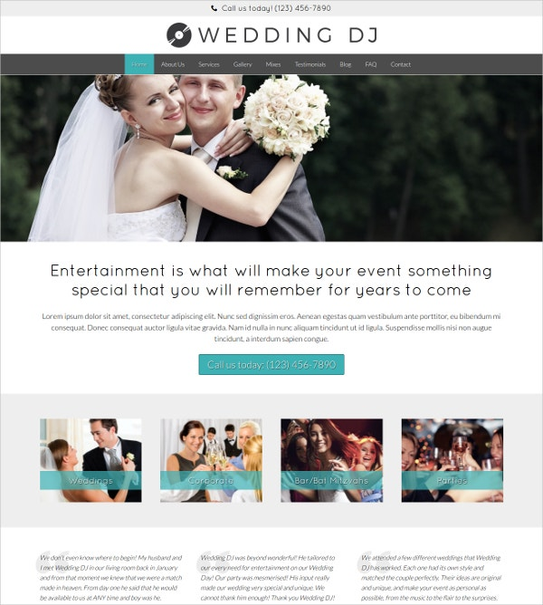 Wedding DJ Professional WordPress Website Theme