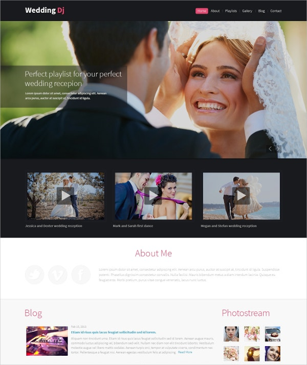 Wedding Planner & DJ Drupal Website Template $75
