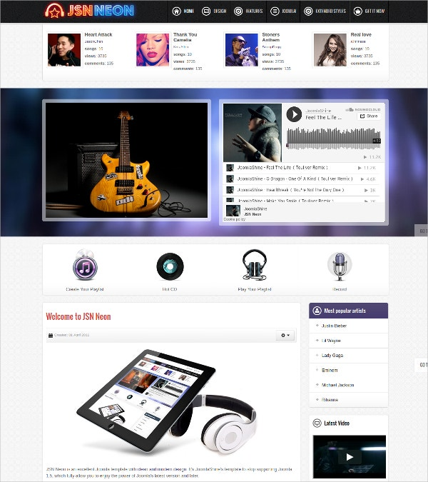 Joomla Website Music & DJ Theme $48