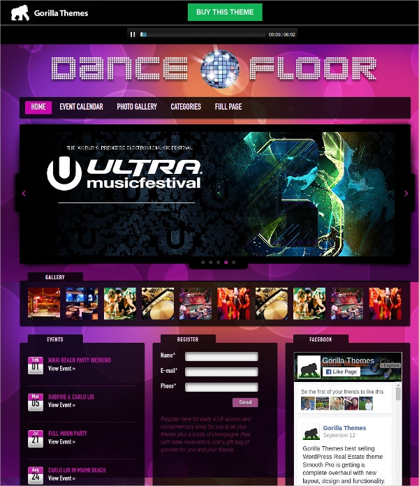 WordPress Website Theme for Music Night & DJ $39