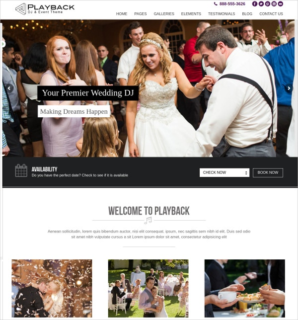 Premium Wedding DJ WordPress Website Theme $45