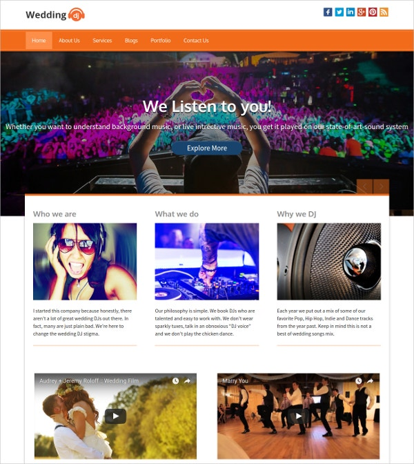Wedding DJ WordPress Website Theme for ecording Artists & Music Bands $79