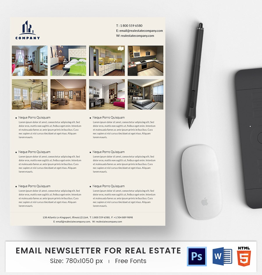 EMail Newsletter 40 Word PSD HTML Format Download – Real Estate Newsletter Template