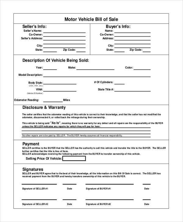 Vehicle Bill Of Sale Template   Free Word  Document
