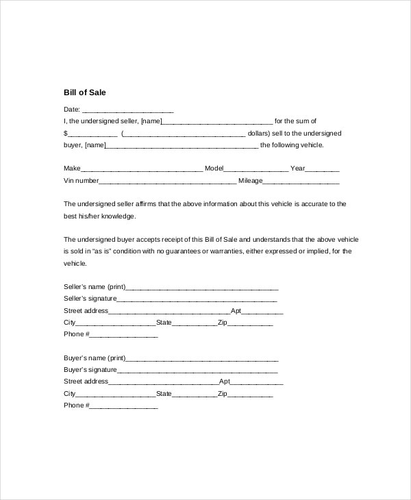 Vehicle Bill of Sale Template 11 Free Word PDF Document – Bill of Sale for Car