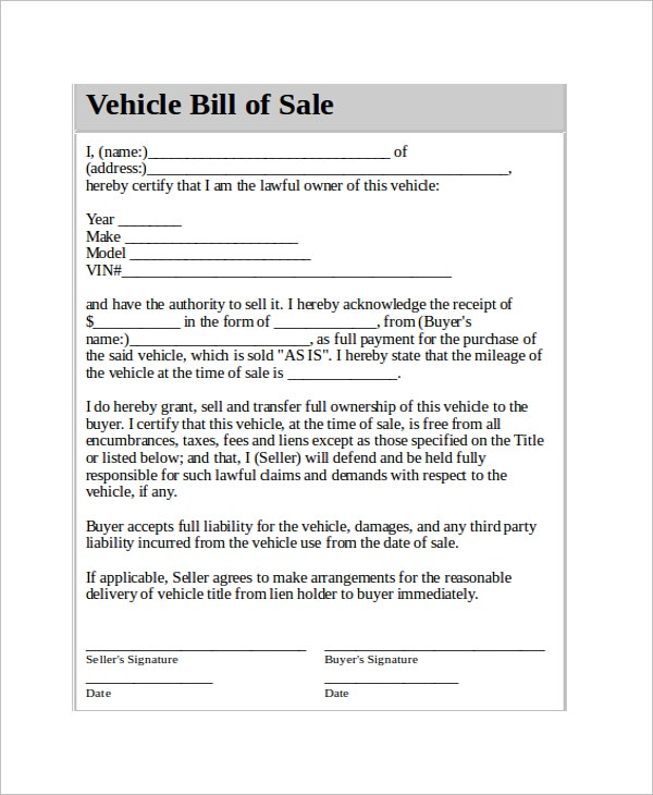Vehicle Bill Of Sale Contract Template