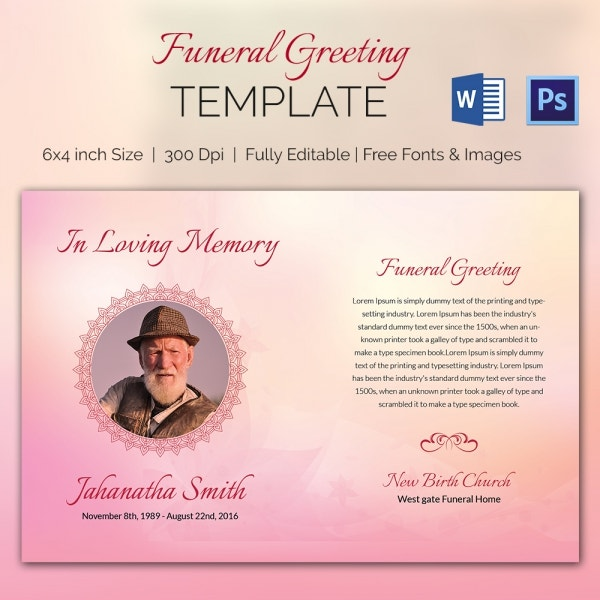 Premium Funeral Greeting Card Template