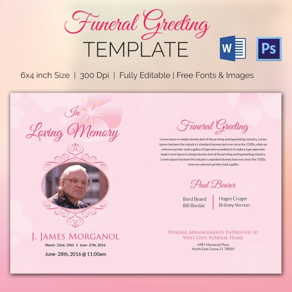 Fully Editable Funeral Greeting Card Template