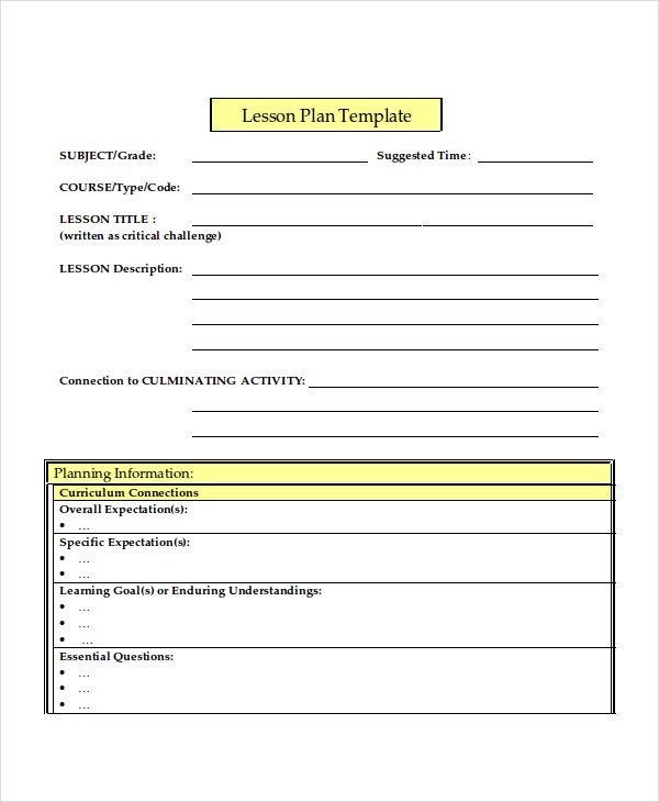 Lesson plan template 10 free word pdf document for Daily lesson plan template word document