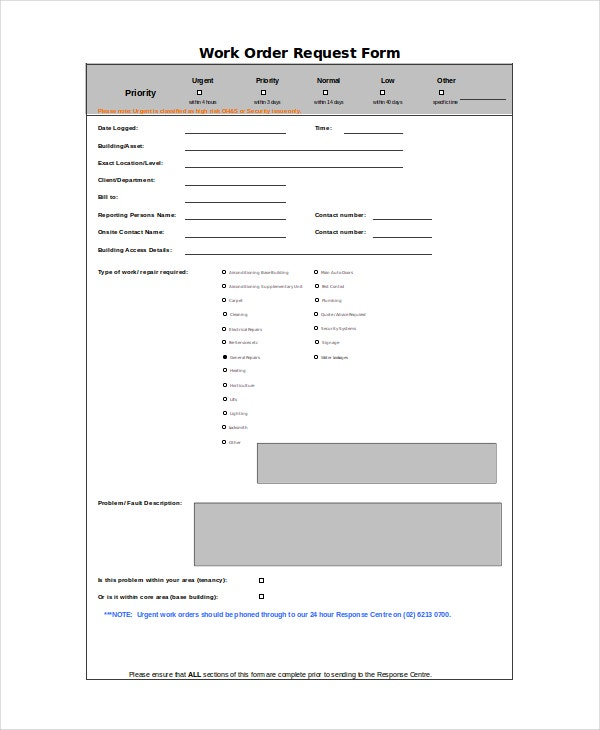 Work Order Request Form Template Excel