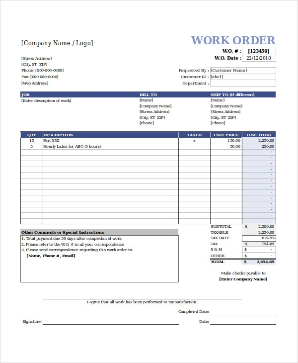 work order template excel