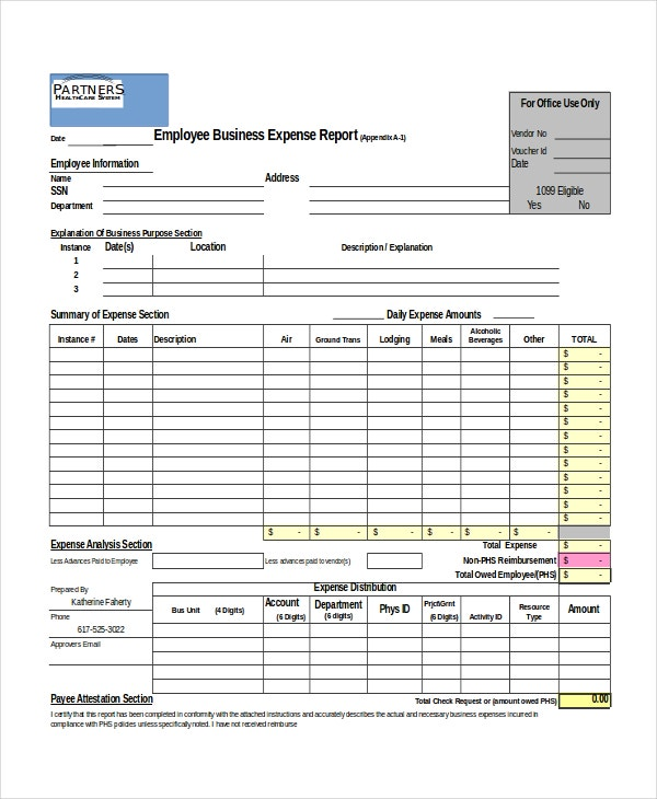 Business Expense Report Template Free  TvsputnikTk