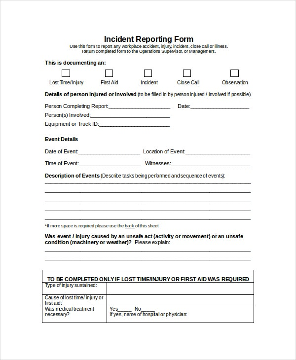 Word Report Template 8 Free Word Document Downloads – Free Incident Report Form Template Word
