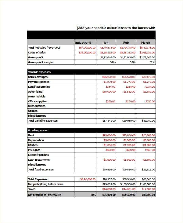 Income statement template 8 free word xls pdf for Projected financial statements template