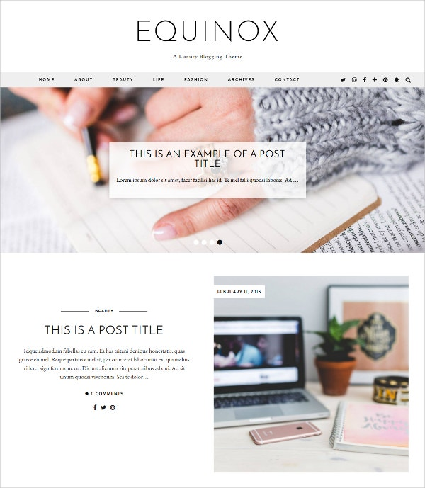 Premium Personal Blog WordPress Theme $59